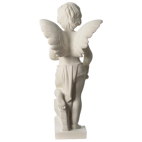 Angel throwing flowers white composite marble statue 17.5 inc 5