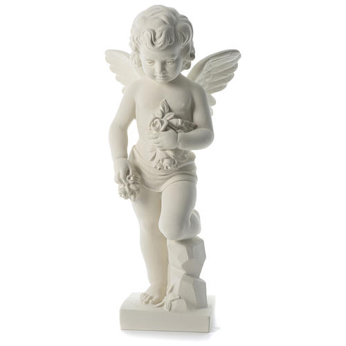 Angel throwing flowers in synthetic marble 75 cm 1