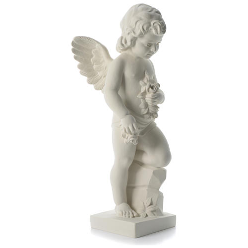 Angel throwing flowers in synthetic marble 75 cm 4