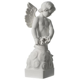 Angel statue with rose in white synthetic Carrara marble 50 cm s4