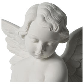 Angel statue with rose in white synthetic Carrara marble 50 cm s7