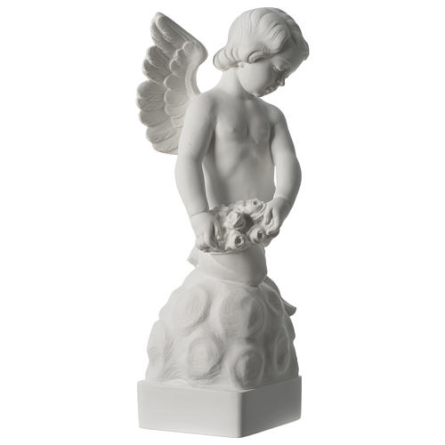 Angel statue with rose in white synthetic Carrara marble 50 cm 4