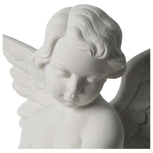 Angel statue with rose in white synthetic Carrara marble 50 cm 7