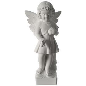 Imagens em Pó de Mármore de Carrara: Anjo lançando flores pó de mármore 50 cm