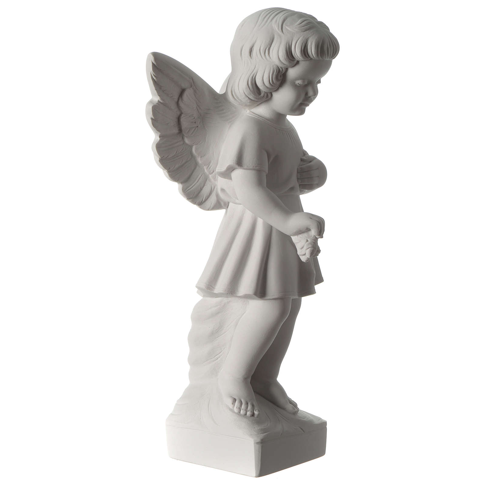 Angel with flowers composite marble statue 19 inc 4