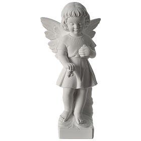 Angel with flowers composite marble statue 19 inc s1