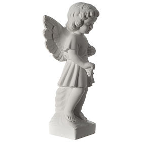 Angel with flowers composite marble statue 19 inc s4