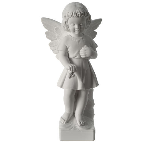 Angel with flowers composite marble statue 19 inc 1