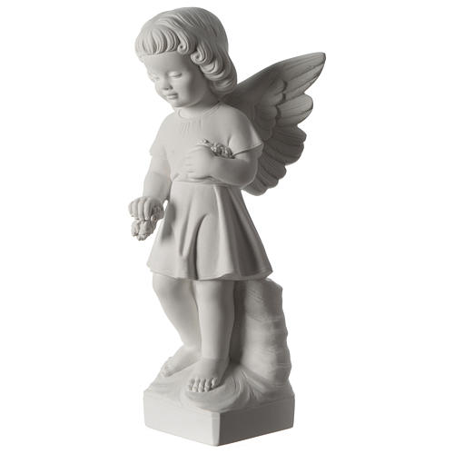 Angel with flowers composite marble statue 19 inc 3
