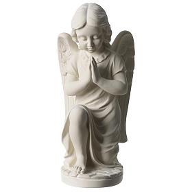 Angel in white Carrara marble 34 cm left s1