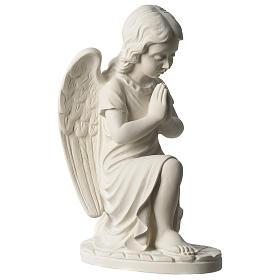 Angel in white Carrara marble 34 cm left s4