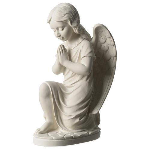 Angel in white Carrara marble 34 cm left 3