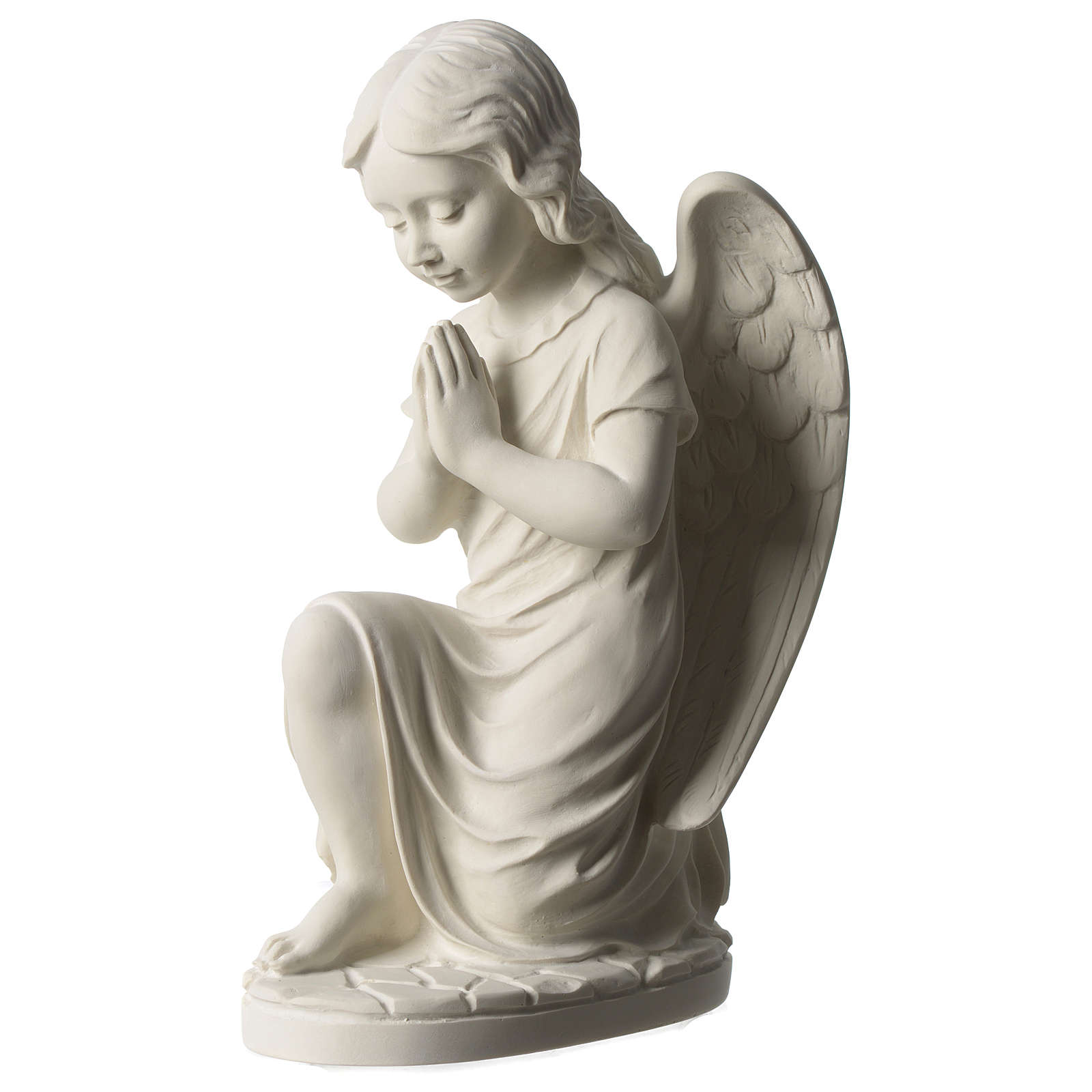 Angel left white composite marble statue 13 inches 4