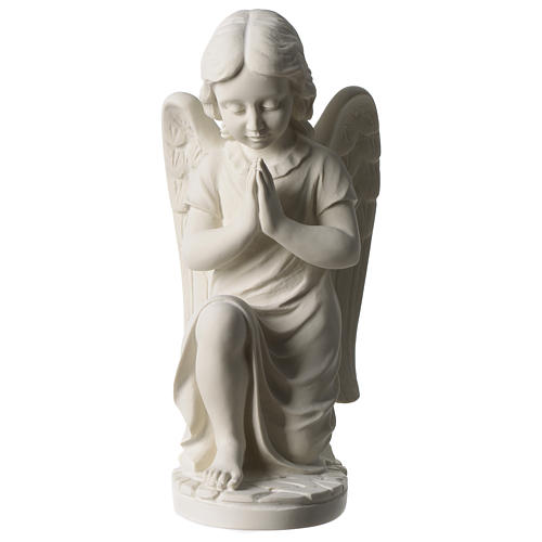 Angel left white composite marble statue 13 inches 1