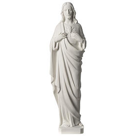Sagrado Corazón de Jesús 53 cm polvo de mármol blanco s1