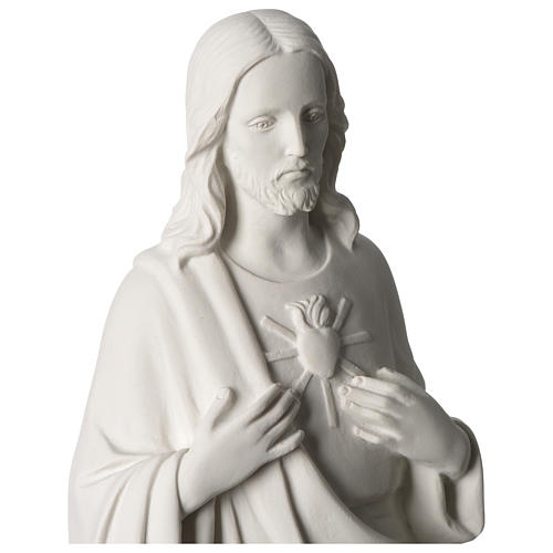 Sagrado Corazón de Jesús 53 cm polvo de mármol blanco 2