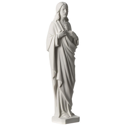 Sagrado Corazón de Jesús 53 cm polvo de mármol blanco 4