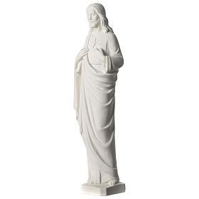 Sacro Cuore di Gesù 53 cm polvere di marmo bianco s3
