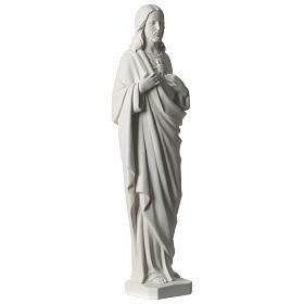 Sacro Cuore di Gesù 53 cm polvere di marmo bianco s4