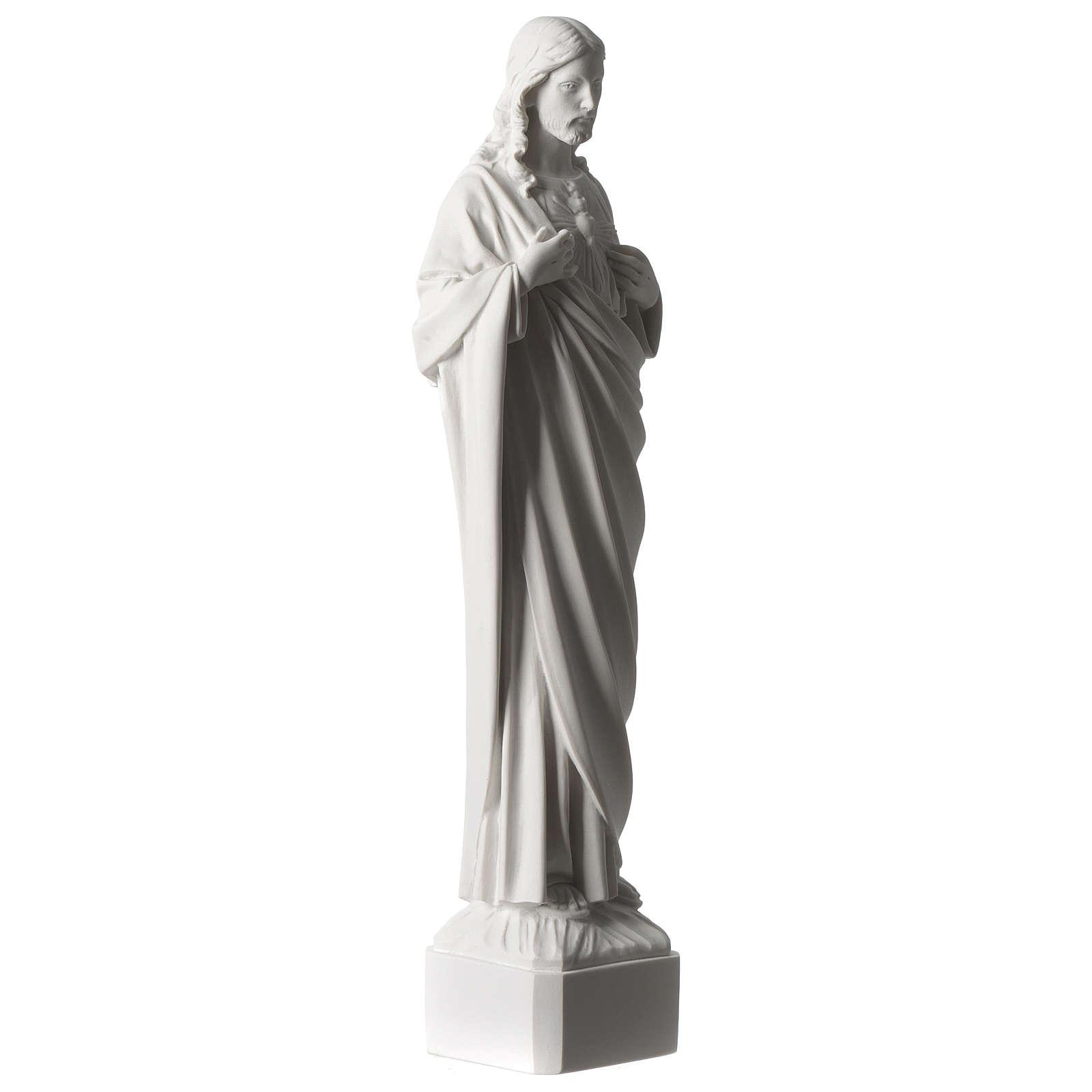 Sacred Heart of Jesus 45 cm in white Carrara marble dust 4