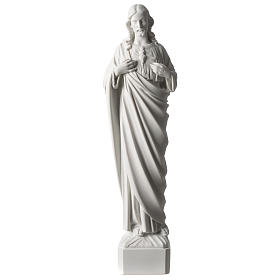 Marble statues: Sacred Heart of Jesus 45 cm in white Carrara marble dust