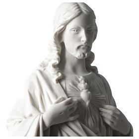 Sacred Heart of Jesus 45 cm in white Carrara marble dust s2