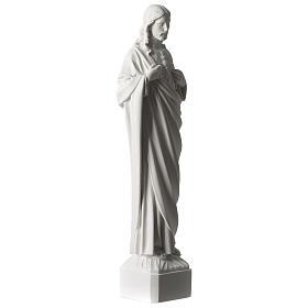 Sacred Heart of Jesus 45 cm in white Carrara marble dust s4