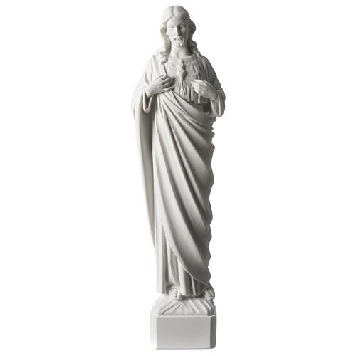 Sacred Heart of Jesus 45 cm in white Carrara marble dust 1