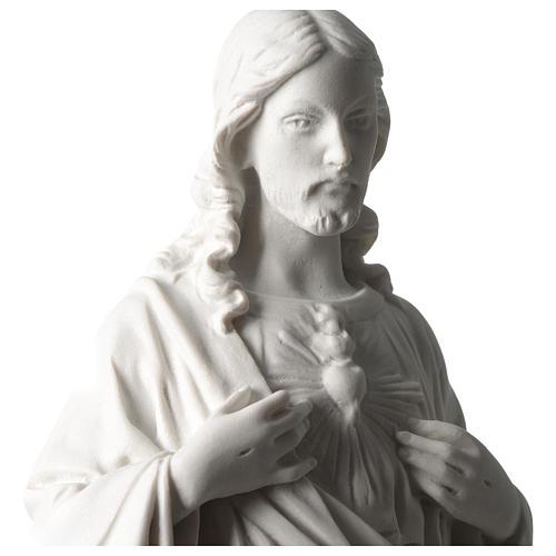 Sacred Heart of Jesus 45 cm in white Carrara marble dust 2