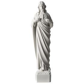 Sacro Cuore di Gesù 45 cm polvere di marmo bianco s1