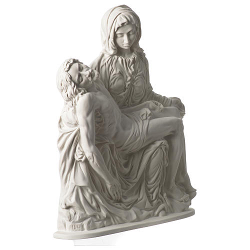 Pieta of Michelangelo plate in white synthetic marble 42 cm 3