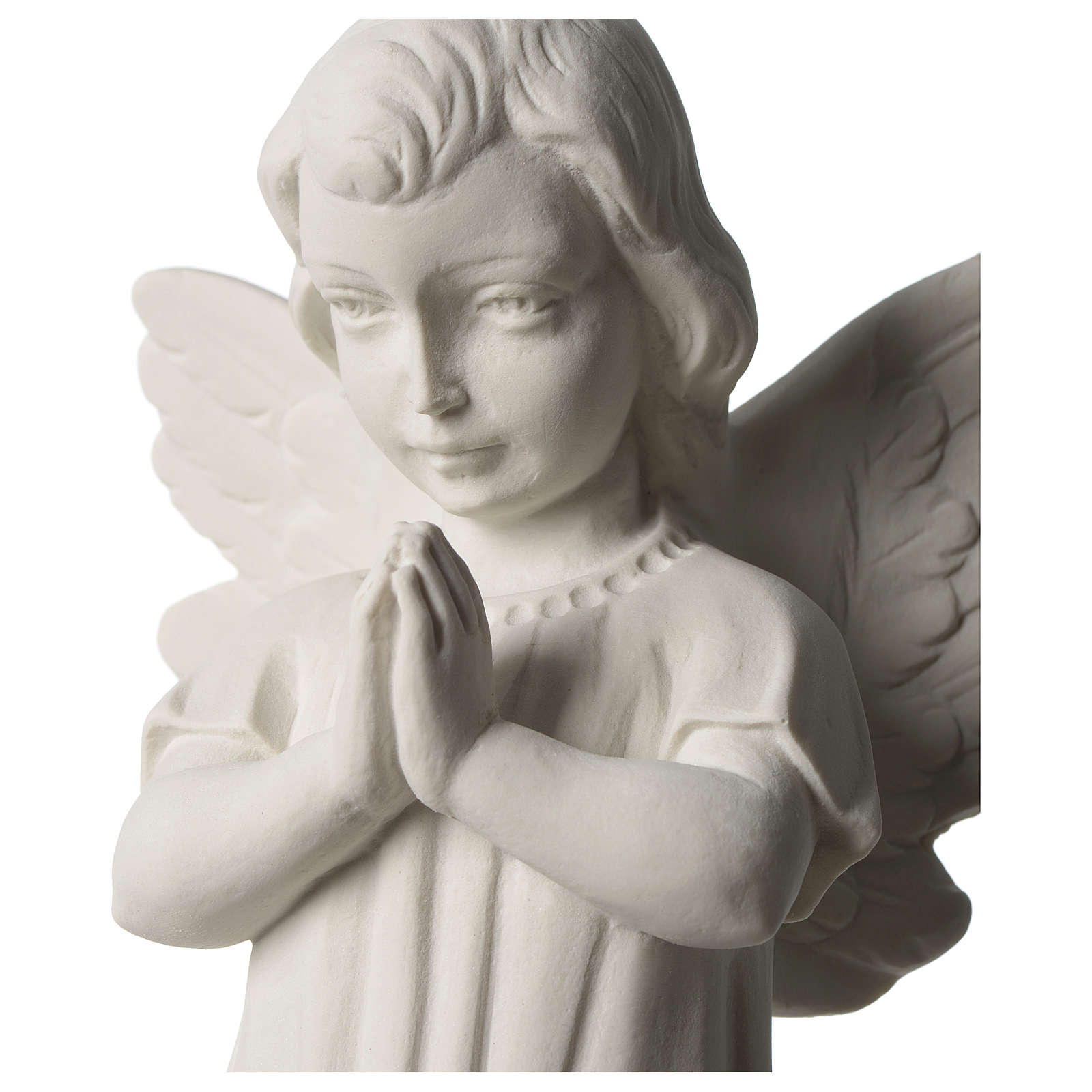 Angel with joined hands in white synthetic Carrara marble 25 - 30 cm 4