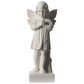 Angel with joined hands in white synthetic Carrara marble 25 - 30 cm s1