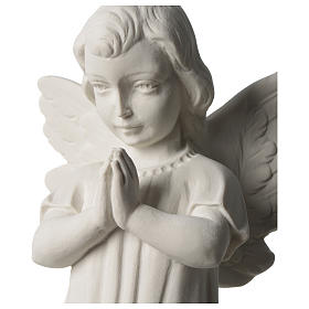 Angel with joined hands in white synthetic Carrara marble 25 - 30 cm s2