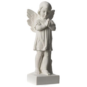 Angel with joined hands in white synthetic Carrara marble 25 - 30 cm s4