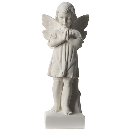 Angel with joined hands in white synthetic Carrara marble 25 - 30 cm 1