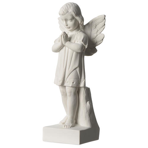 Angel with joined hands in white synthetic Carrara marble 25 - 30 cm 3