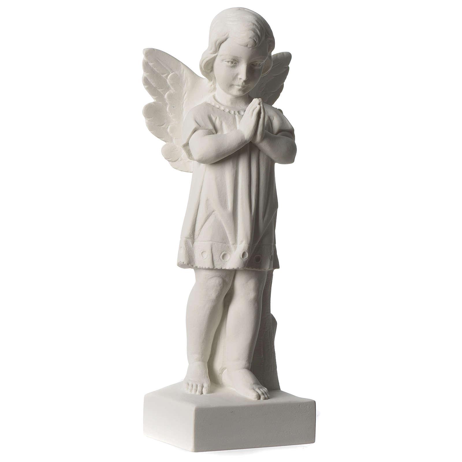 Angelo mani giunte marmo sintetico bianco Carrara 25 - 30 cm 4