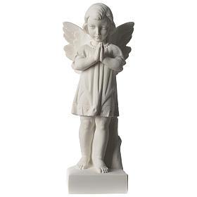 Angelo mani giunte marmo sintetico bianco Carrara 25 - 30 cm s1
