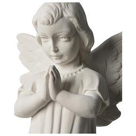 Angelo mani giunte marmo sintetico bianco Carrara 25 - 30 cm s2