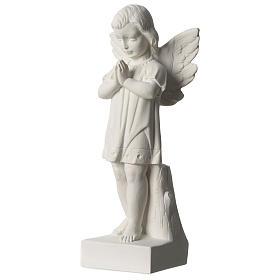Angelo mani giunte marmo sintetico bianco Carrara 25 - 30 cm s3