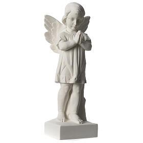 Angelo mani giunte marmo sintetico bianco Carrara 25 - 30 cm s4