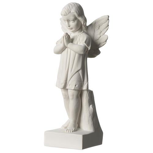Angelo mani giunte marmo sintetico bianco Carrara 25 - 30 cm 3