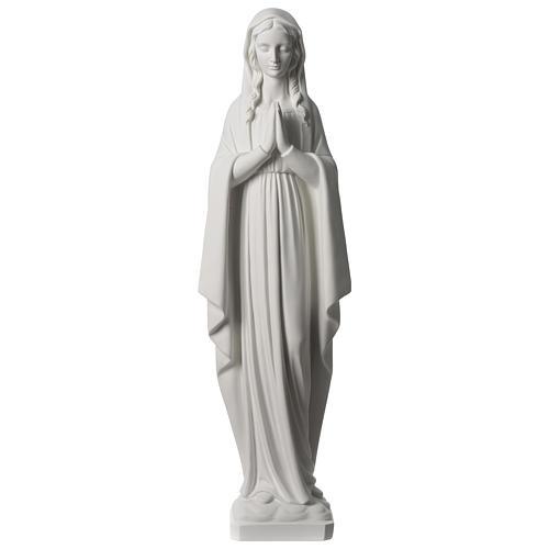 Madonna im Gebet aus synthetischen Marmor 80 cm hoch