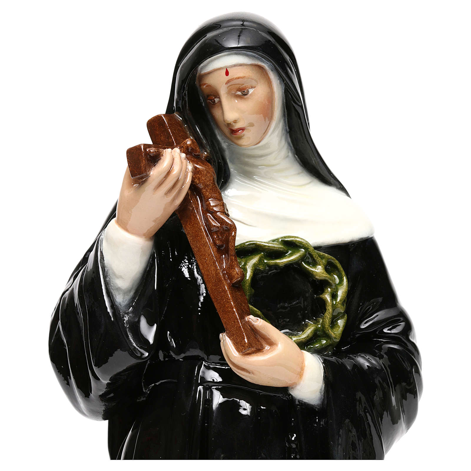 Statue in coloured marble of St. Rita 40 cm 4