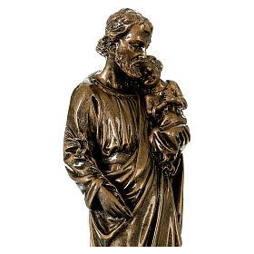 Saint Joseph 30 cm in bronzed marble, outdoor use s4