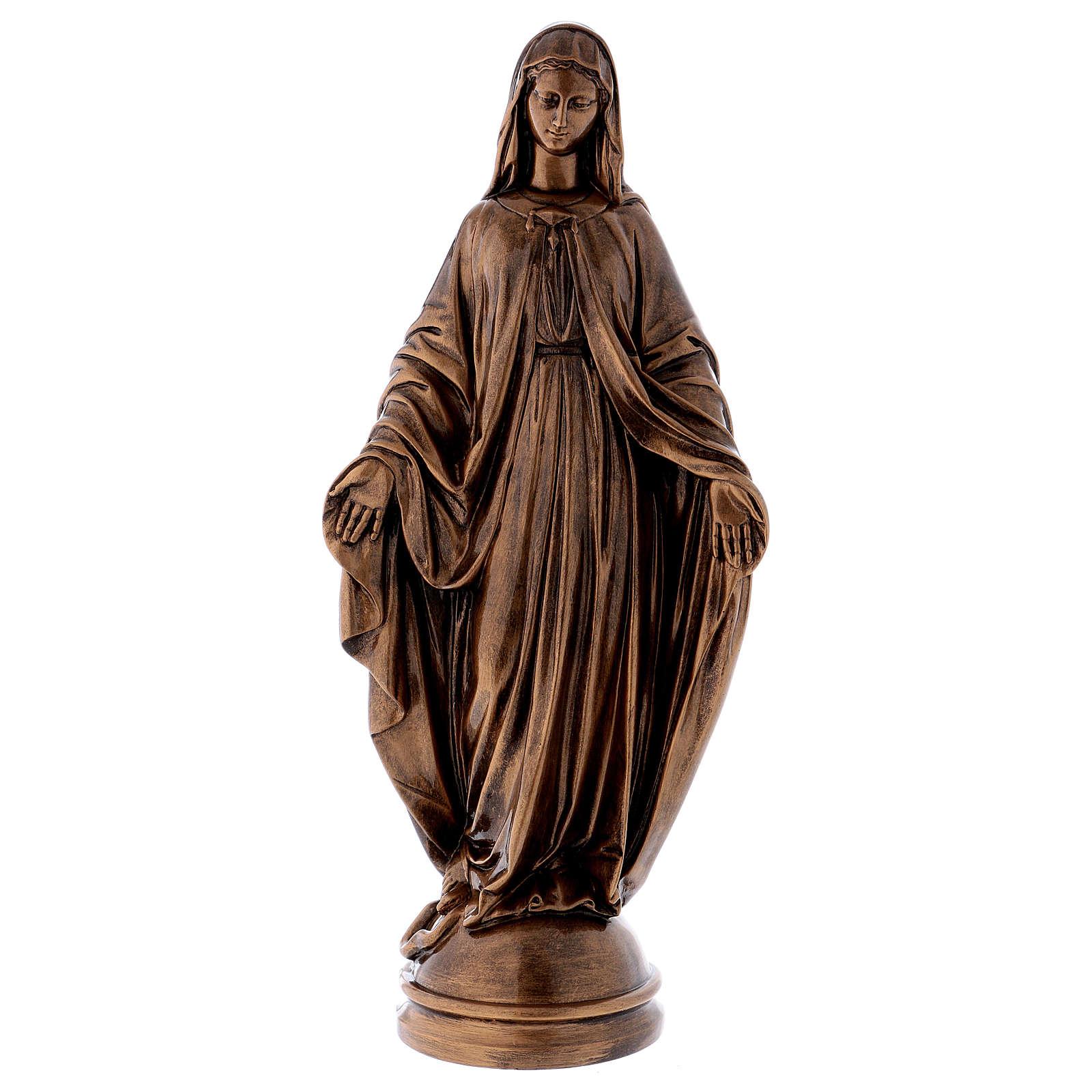 Madonna Miracolosa 60 cm bronzata polvere marmo Carrara PER ESTERNO 4