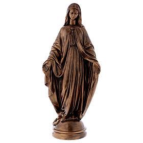 Madonna Miracolosa 60 cm bronzata polvere marmo Carrara PER ESTERNO s1
