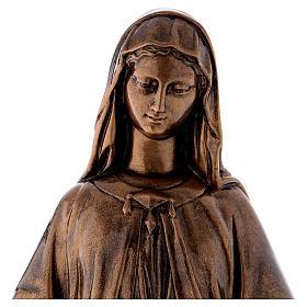 Madonna Miracolosa 60 cm bronzata polvere marmo Carrara PER ESTERNO s2