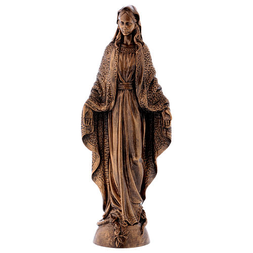 Miraculous Medal statue in bronzed marble powder composite 45 cm, OUTDOOR 1